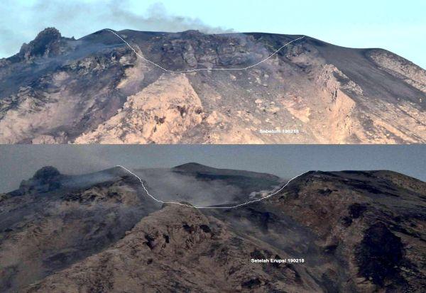 Активниот вулкан Синабунг во Индонезија го разнел врвот на планината