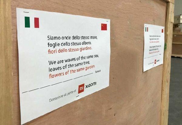 """Кинеска компанија испрати пакети со маски во Италија, со италијанска поезија: """"Ние сме лисја од истото дрво"""""""