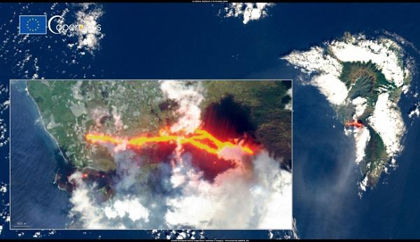 Ерупцијата на вулканот на Ла Палма се гледа и од вселената